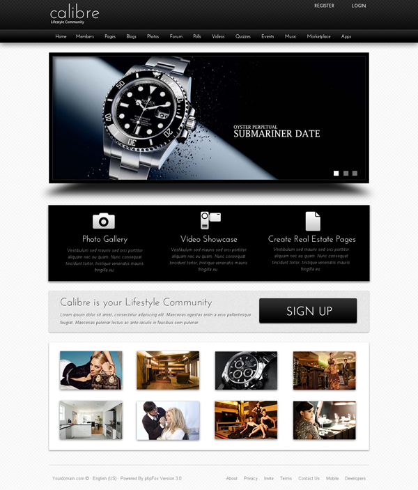 TM – Calibre v1.1 Template For phpFox 3.x